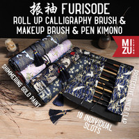 MIZU FURISODE MakeUp Paint Brush Roll Case Tempat Kuas Gulung Lukis