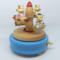 Music Box Wooden Spaceship Piggy 100% Realpic