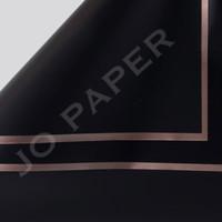[5 LEMBAR] Flower Wrapping Paper List Gold Kertas Buket Bunga - Hitam