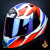 AIROH HELM VALOR ZANETTI MATT+ IRIDIUM | WHITE RED DOFF| DOUBLE VISOR