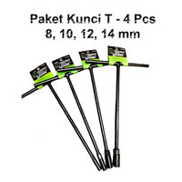 Paket Tekiro Kunci T Type Wrench Sock 4Pcs Ukuran 8 10 12 14 mm