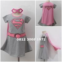 Baju Dress Kostum Superhero Girl Anak Perempuan SUPERGIRL 3-12 Tahun