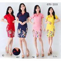 Baju Batik Wanita-Dress Batik Cheongsam Motif Cantik Size M dan L