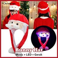 Topi Santa Claus Lampu Gerak Bunny Hat LED Topi Santa Kelinci Tik Tok