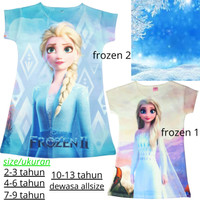 Dress Anak Cutie / bahan scuba / usia 2thn s/d dewasa / best seller - frozen 1, 2-3 tahun