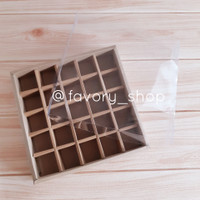 Box Sekat 21,5x21,5 Brown Kraft /Kemasan Cookies Nastar Coklat (5pcs)