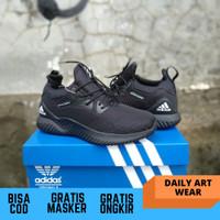 sepatu pria adidas alphabounce beyond full black running man