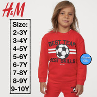 H&M Boy Sweatshirt Anak Laki-Laki Best Team Red Branded Original