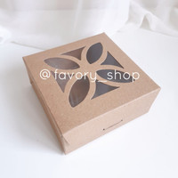 Mini Window Box 12x12 Brown Kraft /Kemasan Kue Soft Cookies (5pcs)