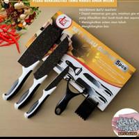Pisau set batu maifan ceramic granite hitam dapur 5 in 1 kitchen knife
