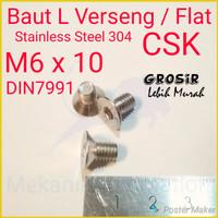 Baut L Flat M6 x 10 Verseng SUS304