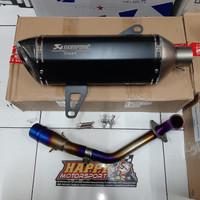 Knalpot Fullsystem Akrapovic Replika TMAX utk Yamaha XMAX 250 BLACK ed