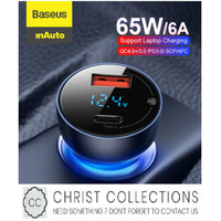BASEUS CAR CHARGER MOBIL FAST CHARGE 65W TYPE C + USB PD QUICK CHARGE - Abu-abu