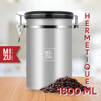 MIZU HERMETIQUE 1800ml Airtight Coffee Canister Toples Kopi Kedap SUS