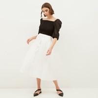 NONA Yoona Pleated Skirt White Midi - Nona x Yure Collection