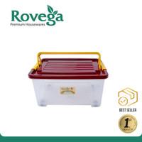 Rovega Kotak Kontainer Plastik Premium dengan 4 Roda 35 Liter
