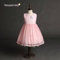 Gaun dress anak girl Lace putih back bowknot wedding pesta tutu
