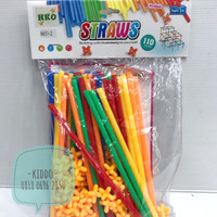 Mainan edukasi mainan kreativitas membangun dari stik straws -NS