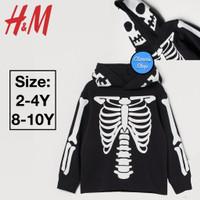 H&M Sweatshirt Sweater Hoodie Anak Black Skeleton Branded Original