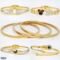 Gelang Titanium Keroncong Branded Perhiasan Gold Rose Gold Silver TG23
