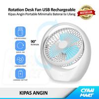 Kipas Angin Meja USB Baterai isi Ulang Swivel Desk Fan Rechargeable - COOL FAN - BIRU