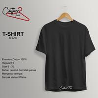 Kaos Polos Baju Pria Kaos Pria Premium Cotton Kaos Lengan Pendek BLACK - S