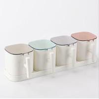 Rak Tempat Penyimpanan Bumbu Dapur Minimalis Plastik Set 4 Cup TBD004