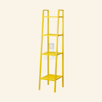 Rak Buku Besi 35x35x148cm. Putih Dekorasi Shabby Chic Aesthetic Lemari - Kuning