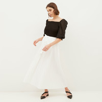 NONA Yoona Pleated Skirt White Maxi - Nona x Yure Collection