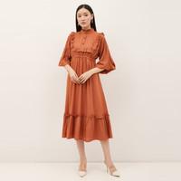 NONA Autumn Dress Midi Pumpkin Orange