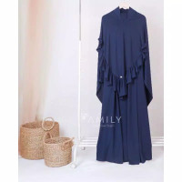 Gamis Aisy Dress Only by Amily Hijab - Navy, S