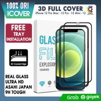Original iCover Tempered Glass iPhone 12 Pro Max 12 Mini 12 Anti Gores - 3D Full Cover, iPhone 12ProMax