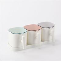 Rak Tempat Bumbu Dapur Set Minimalis Plastik 3 Cup TBD003