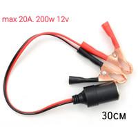 kabel socket mobil 12v terminal clamp klip pemantik aki adaptor batrai