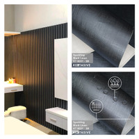 SPARKLING BLACK LINEN KAIN - PVC INTERIOR FILM KERTASIVE ( 60 CM )