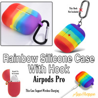 Apple Airpods Pro Rainbow Silicone Case Protective Cover With hook