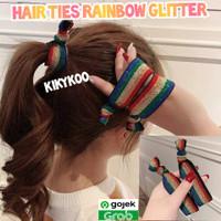 scrunchies rainbow glitters hair ties rainbow ikat rambut rainbow