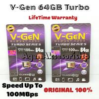 Memory Card V-Gen 64GB TURBO Series MMC mSD Class 10 85MBPS ORIGINAL
