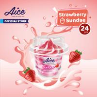 Aice Ice Cream Strawberry Sundae Cup Es Krim (1 karton = isi 24 pcs)