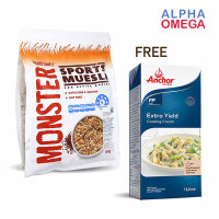 MONSTER SPORT MUESLI 700 GR FREE ANCHOR EXTRA YIELD COOKING CREAM 1 L