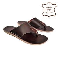 Terbaru Sandal Pria bahan kulit asli full kulit sandal flat pria japit