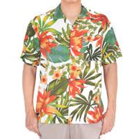 """Kemeja Pria Motif Orange Flowers"""" Holiday Shirt Putih Lengan Pendek"""