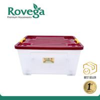 Rovega Kotak Kontainer Plastik Premium dengan 4 Roda 60 Liter