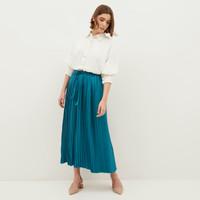 NONA Yoona Pleated Skirt Blue Maxi