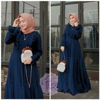 Baju Gamis Maxi Dress Leoly Tile Wanita - Navy