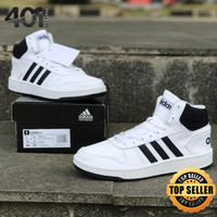 Sepatu Adidas Hoops 2.0 Mid Cloud White / Core Black for Men - 40