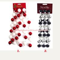 Noelle Garland mix 180cm Red white hiasan gantungan bola-bola Kecil