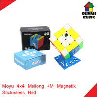 Rubik 4x4 Moyu Meilong 4M Magnetik Stickerless Red