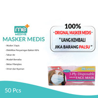 MASKER MEDIVIE 3-PLY EARLOOP DISPOSABLE//MASKER MEDIS//FACE MASK 50PCS