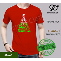 kaos natal baju we wish you a merry christmas - Merah, XS